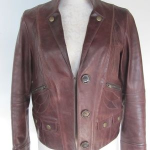 CHLOE Leather Notched Lapel Jacket, Truffle Brown